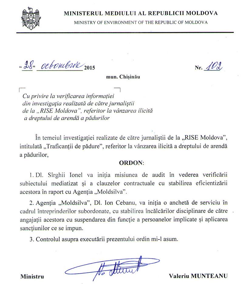 ordinul ministrului Munteanu